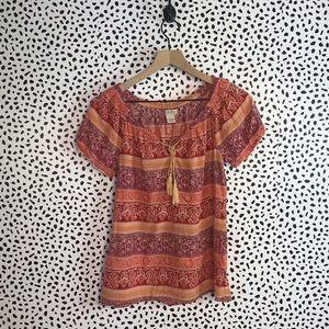 Lucky brand orange shirt sleeve blouse small